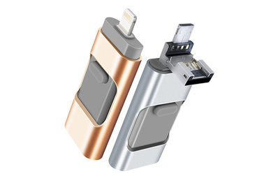 China MFI Iphone 3 In 1 Flash Drive For IOS Devices , Iphone Lightning Memory Stick supplier