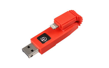 Red 2 In 1 Apple Lightning USB Flash Drive With Card Reader For Iphone & Ipad